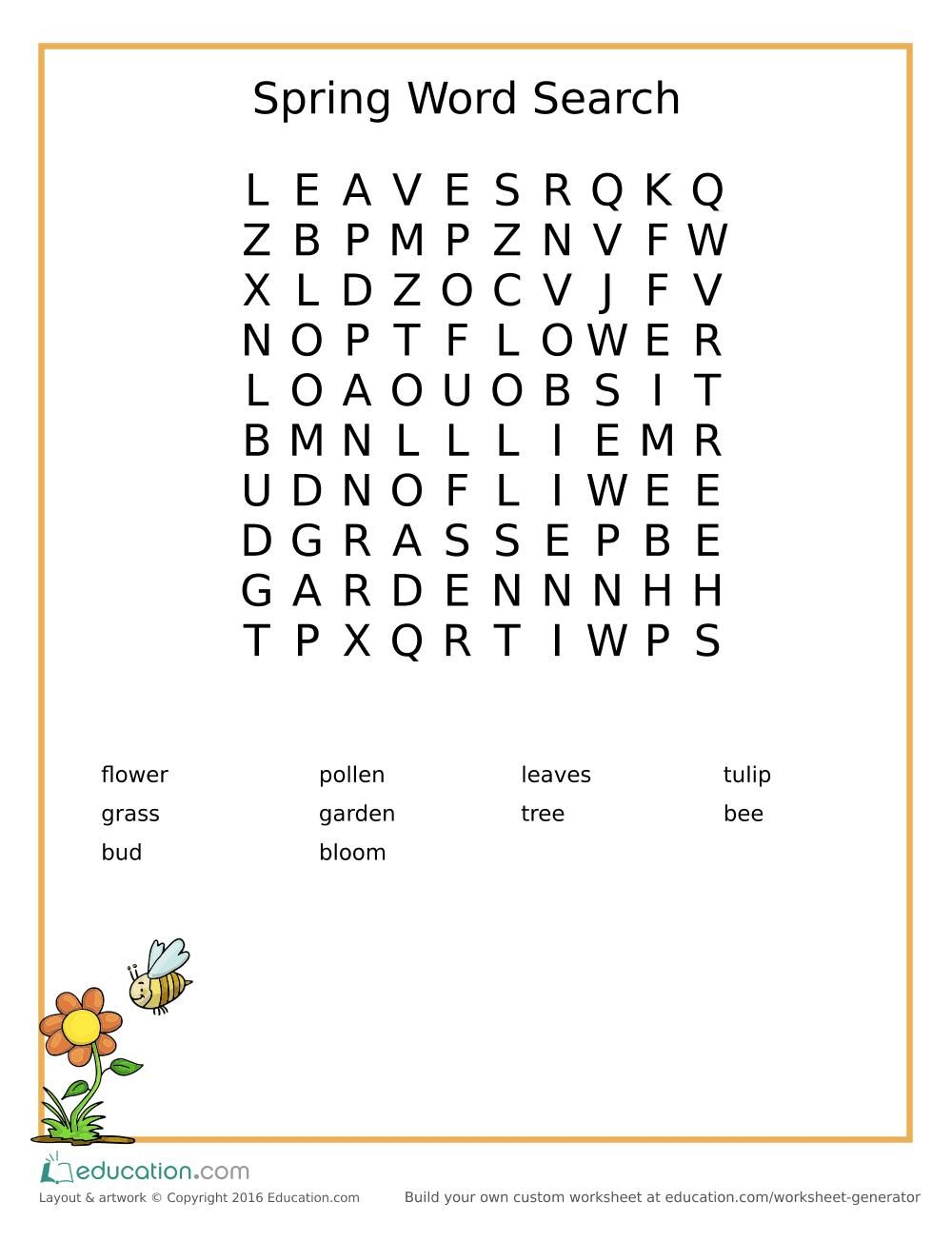 Free Printable Spring Word Search For Kids With Images Spring