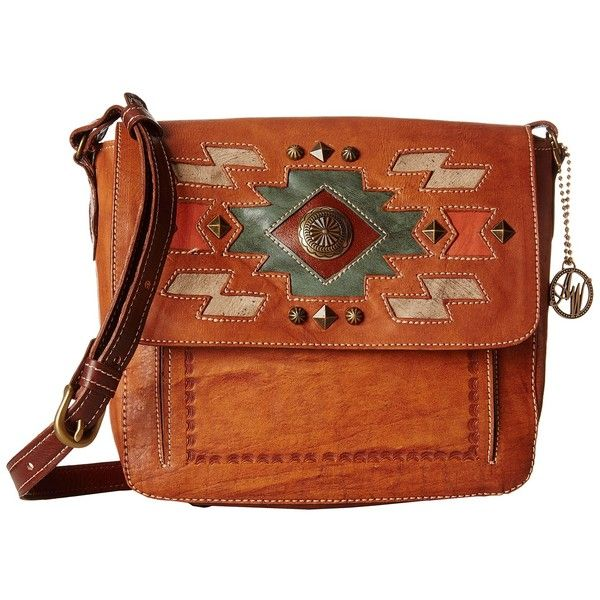 American West Zuni Passage Crossbody Flap Bag (Golden Tan/Antique... (205 CAD) ❤ liked on Polyvore featuring bags, handbags, shoulder bags, shoulder handbags, crossbody cell phone purse, leather crossbody purse, handbags shoulder bags and shoulder strap handbags