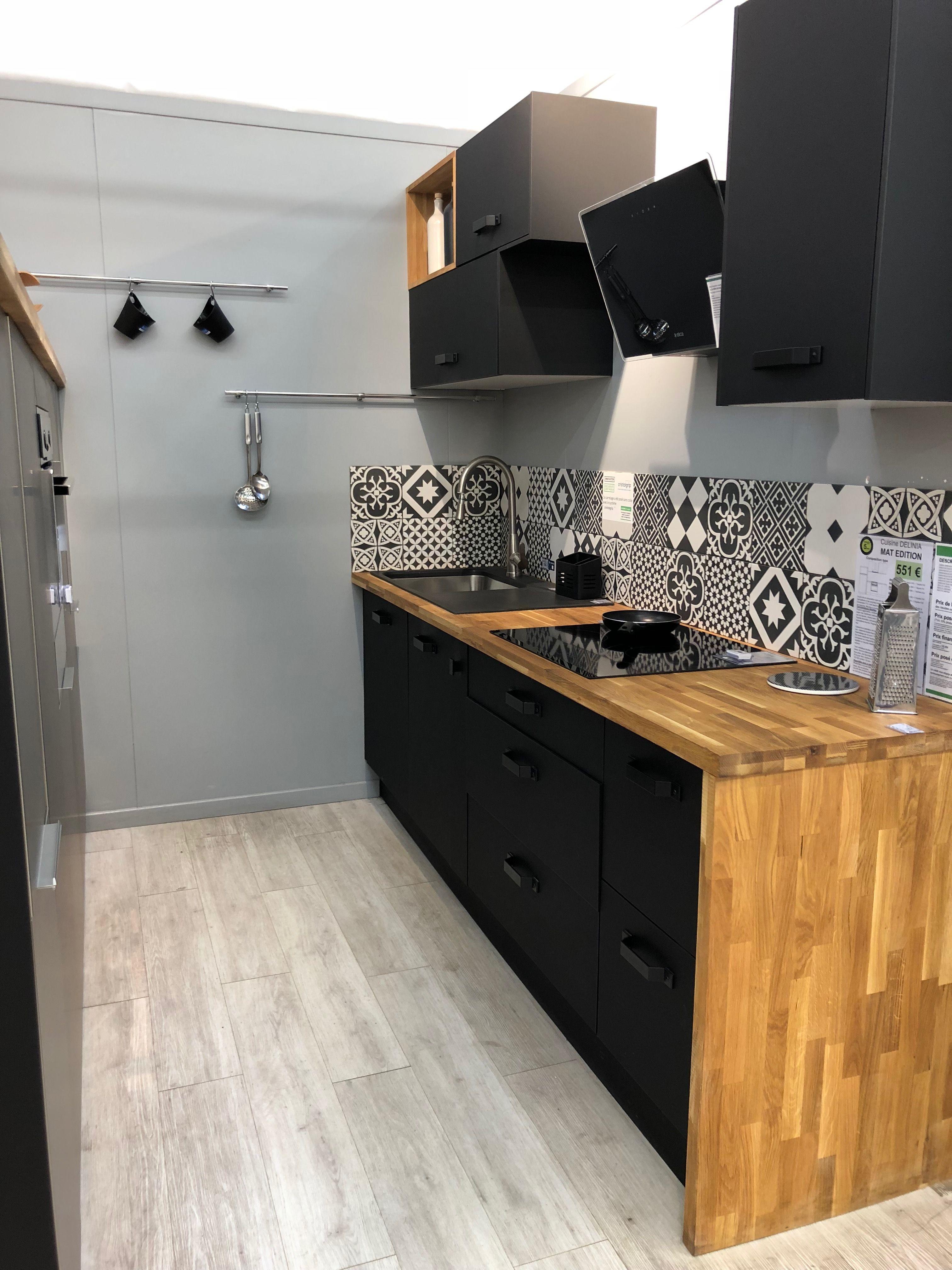 cuisine noir mat et bois style industriel