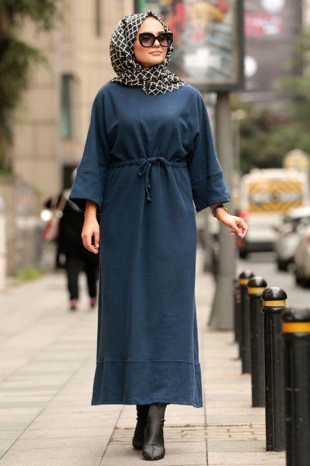 Nayla Collection – Belden Büzgülü İndigo Mavisi Tesettür Elbise 7001IM – Tesetturisland.com