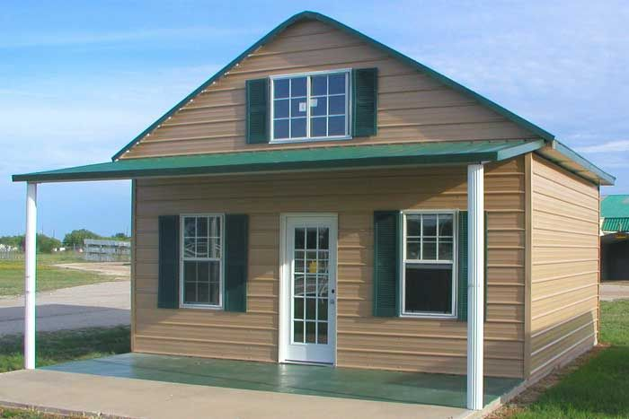 Metal buildings house google search cottage style for Metal building homes with wrap around porch
