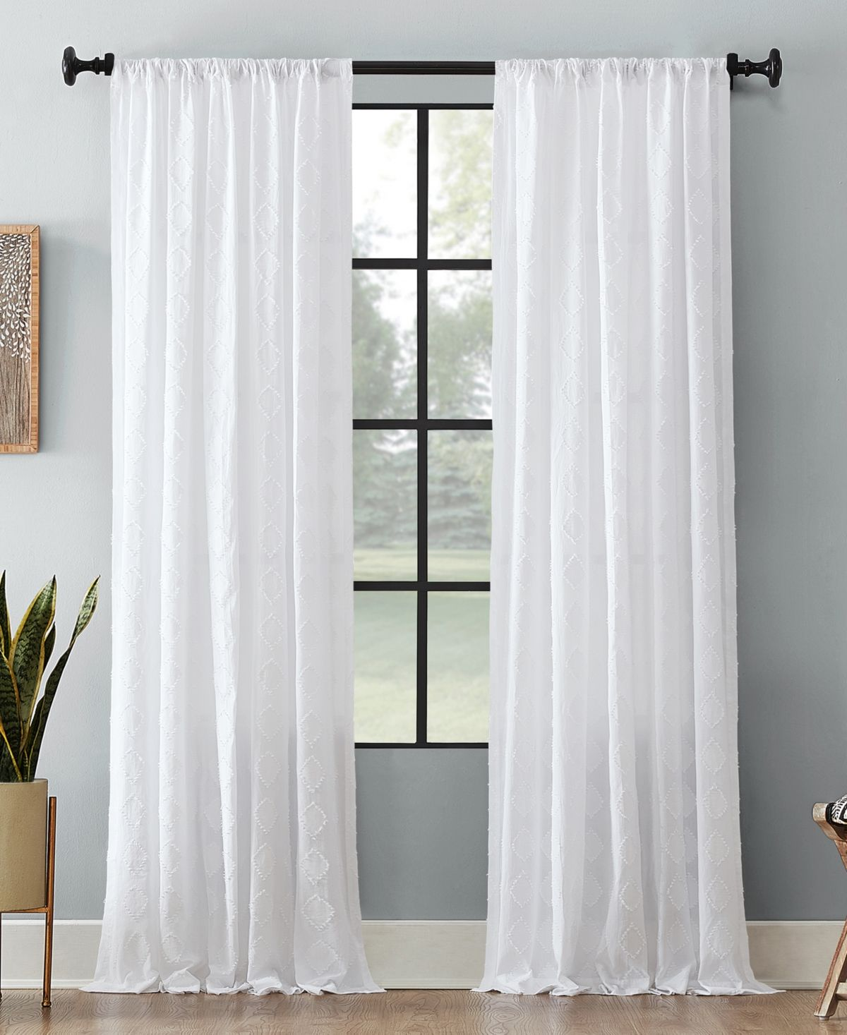 Archaeo Diamond Textured 50 In 2020 White Sheer Curtains White Curtains Bedroom Curtains