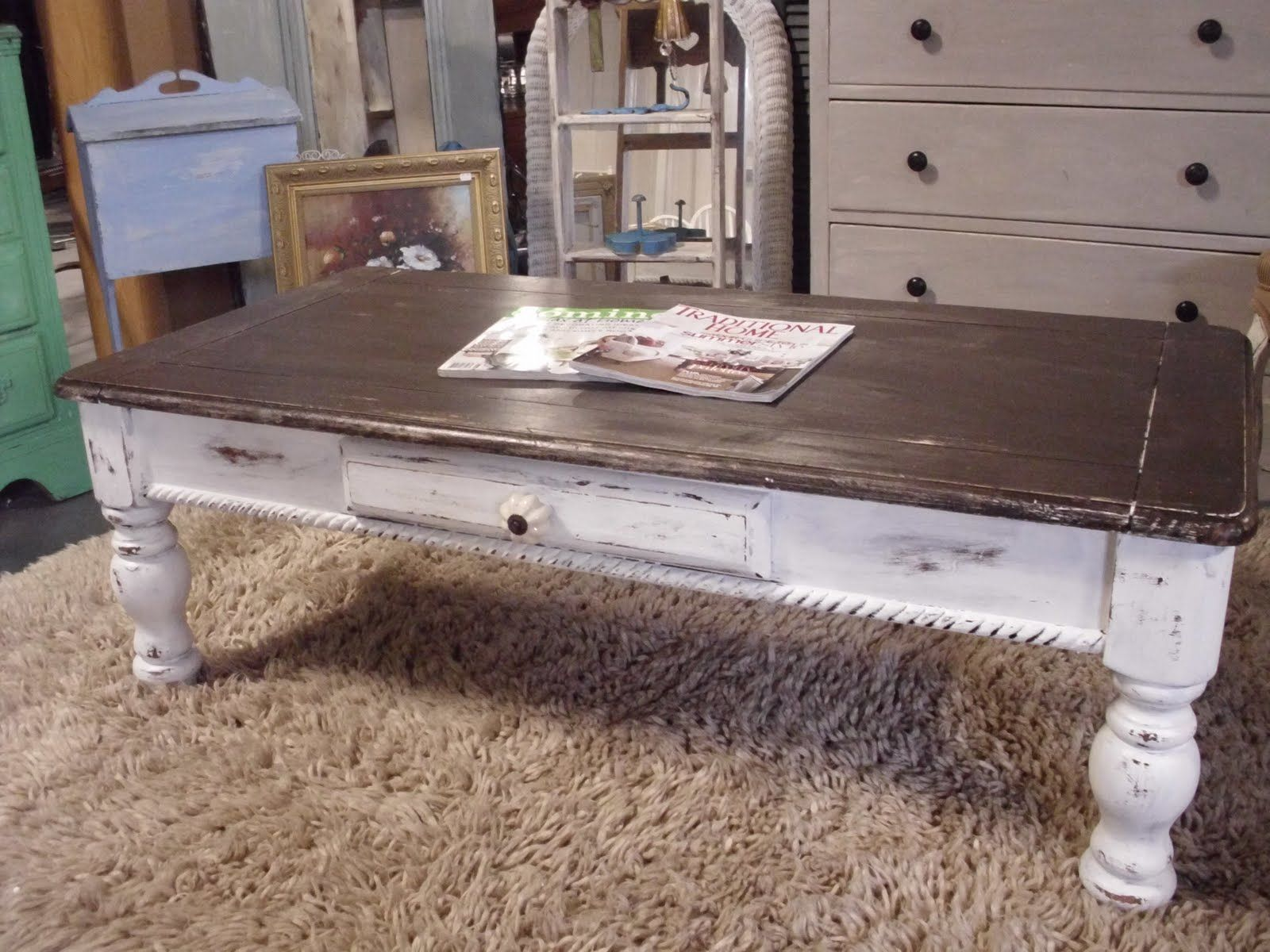 The french flea distressed coffee table beach furniture the french flea distressed coffee table geotapseo Choice Image