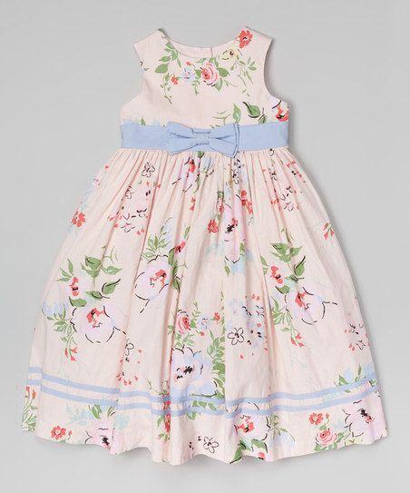 Pink & Blue Floral Bow Dress - Toddler & Girls