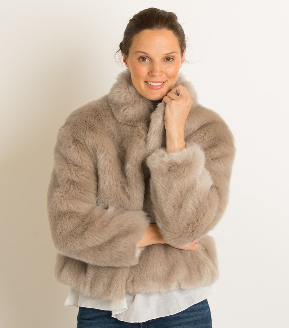 e4480611d Faux Fur Jacket by Ruby & Ed | Fawn | Holiday Inspiration | Faux fur ...