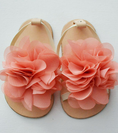 leather baby sandals with vintage pink chiffon flower • via Etsy