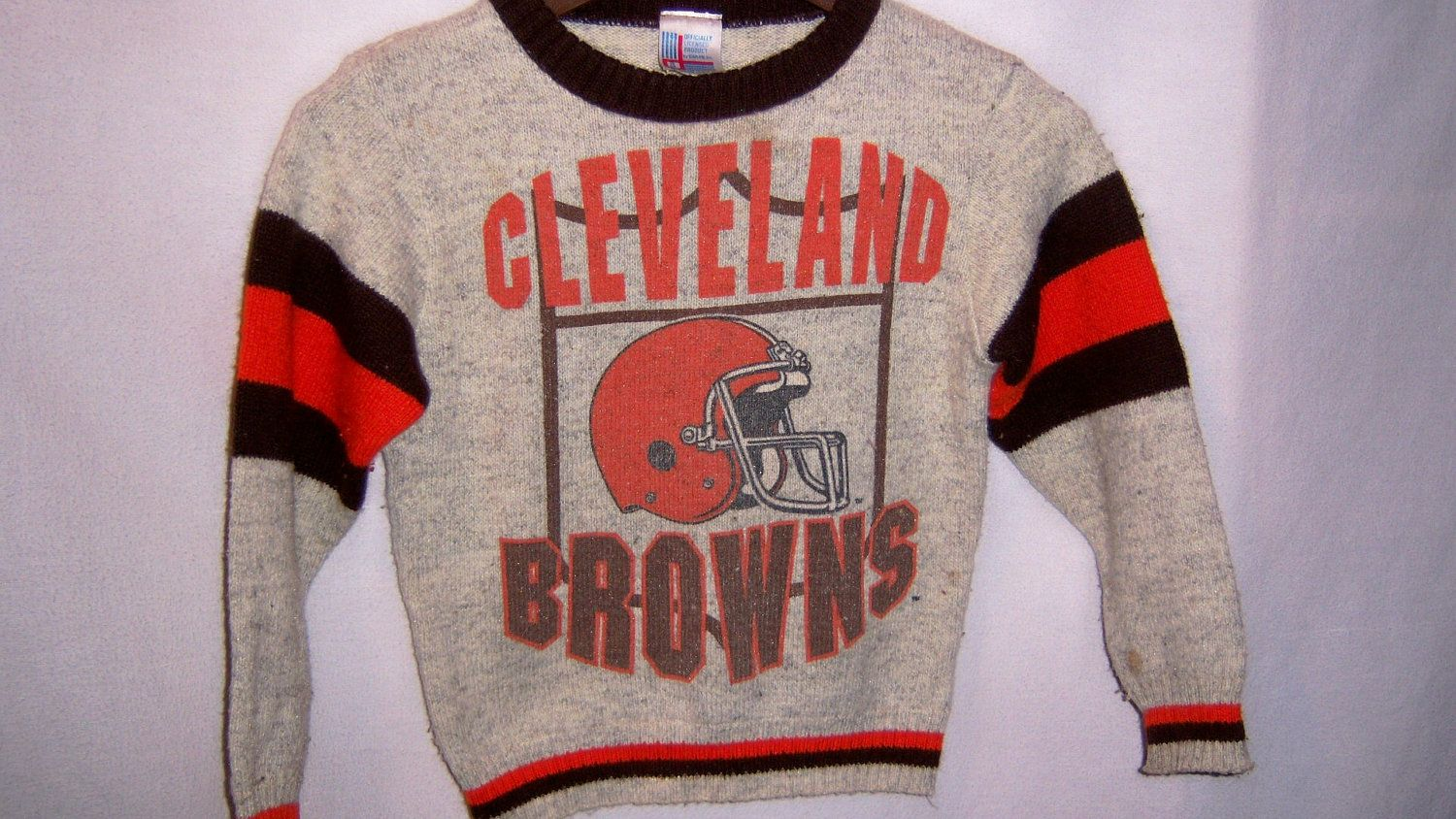 0554e817 Vintage 1980's Garan CLEVELAND BROWNS Sweater youth Small ...
