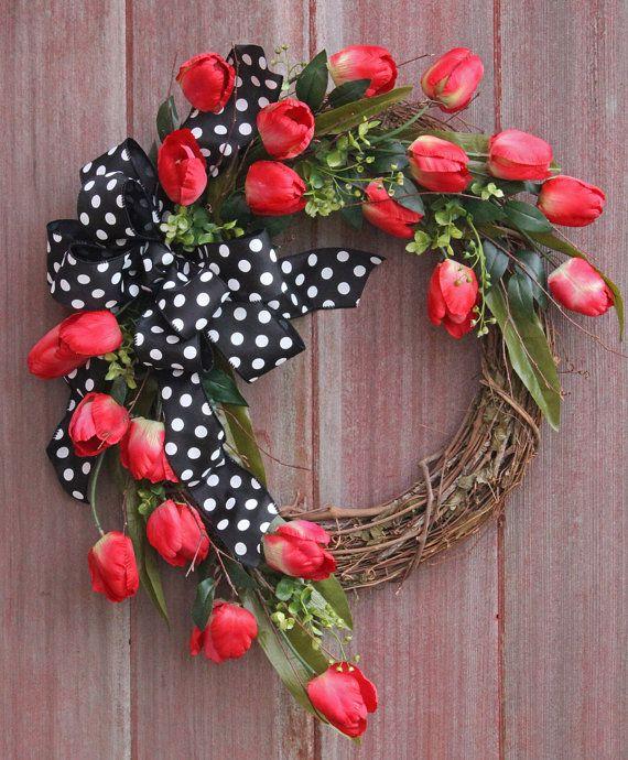 Valentines Day Wreath Spring Wreath Grapevine by HilltopRustics