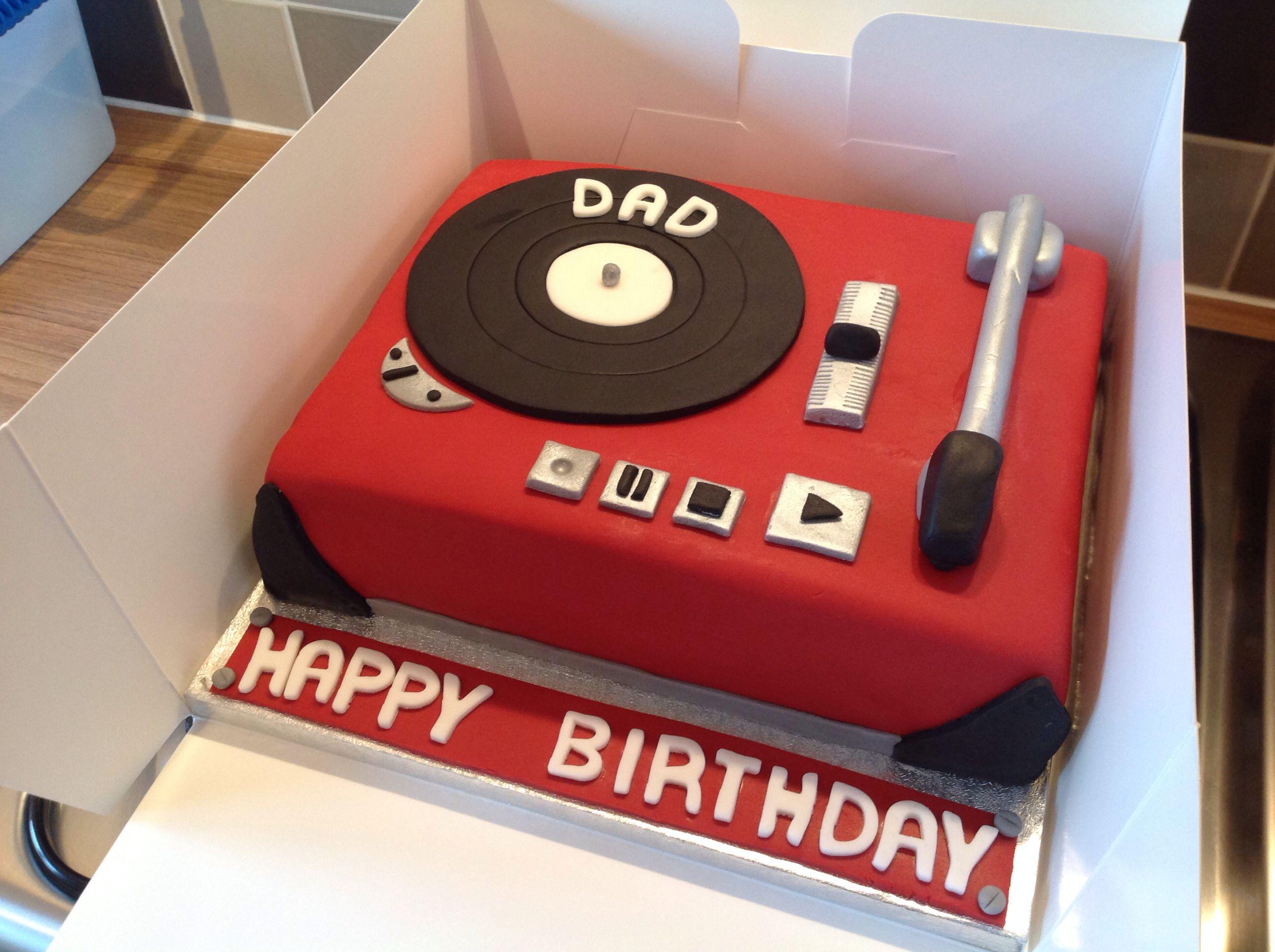 Retro Record Player Vinyl Cake Happy Birthday Dad Record Cake Dad Birthday Cakes Occasion Cakes