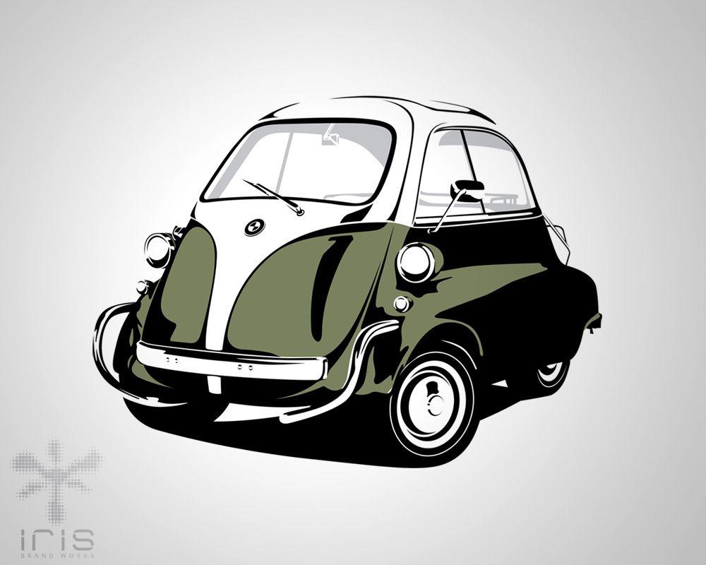 Bmw isetta vector illustraion dream garage pinterest for Garage bmw bondy 93