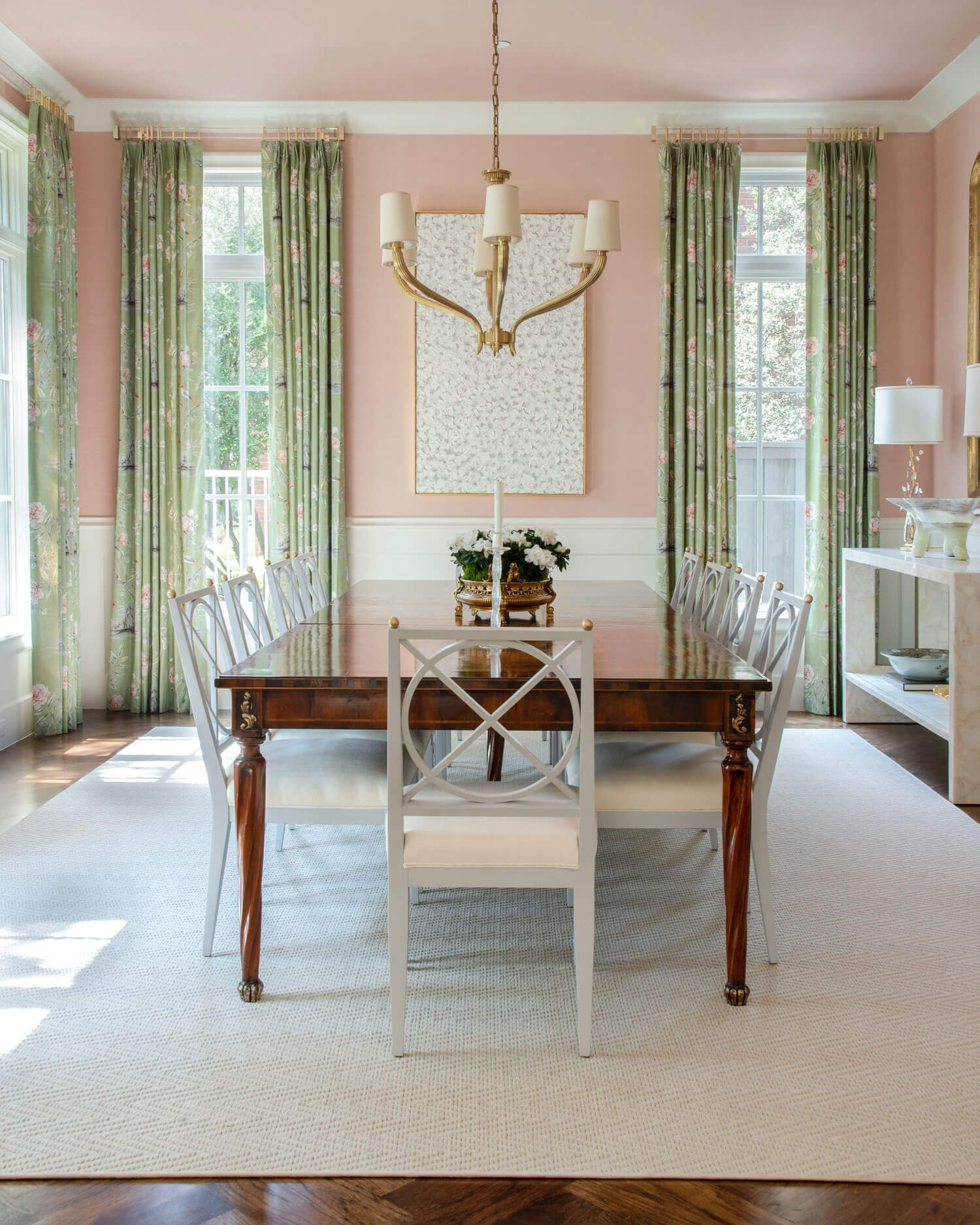 Blush and Green Dining Room Dallas Interior Design by