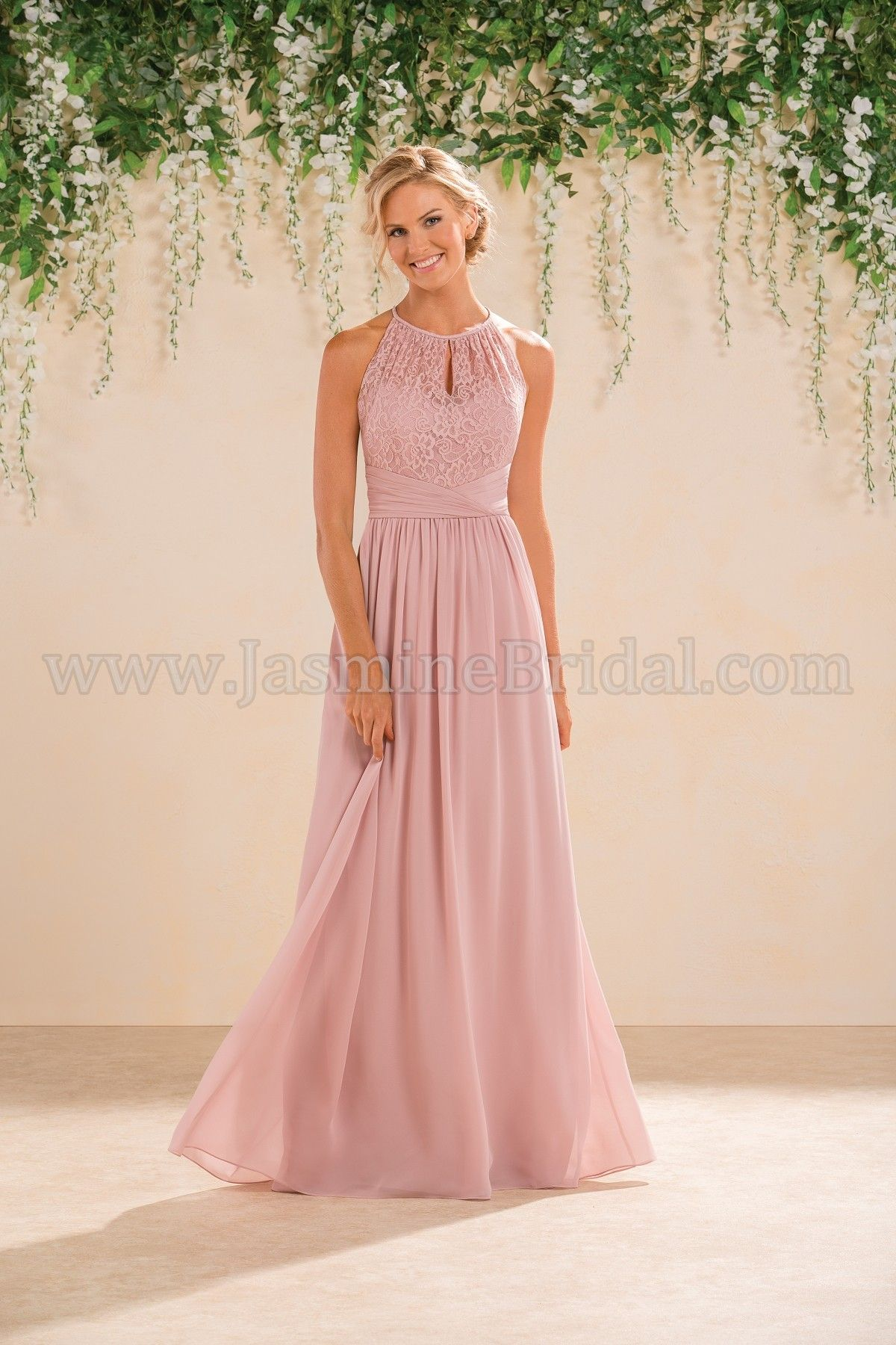 Jasmine Bridal Long High Neck Lace Poly Chiffon Bridesmaid Dress