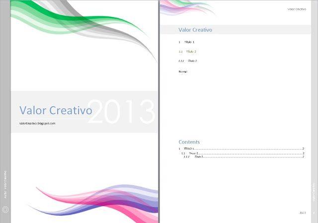 Valor Creativo Plantilla Word 2003 2007 Y 2010 Agosto 2013 Portadas Word Portadas De Trabajos Portadas