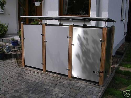 bankirai muelltonnenverkleidung edelstahl muellbox fuer 3 muelleimer 120 liter vorgarten. Black Bedroom Furniture Sets. Home Design Ideas