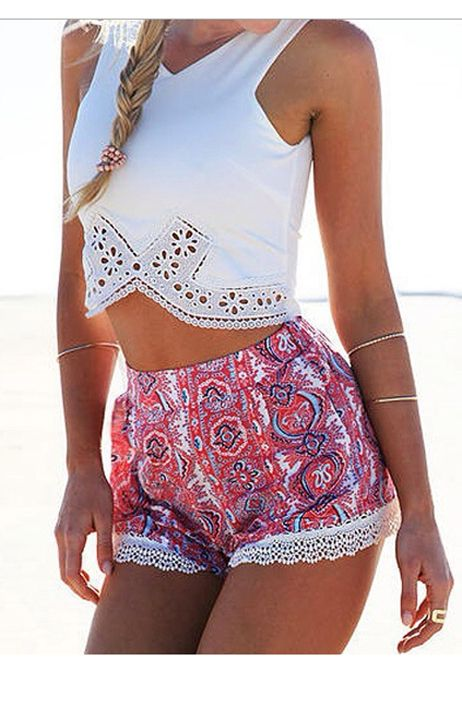 Women Sexy Casual Two Pieces V Neck Irregular Solid Lace Patchwork Tank Tops and Lace Trimming Print Shorts Set