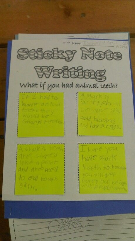 Sticky Note PreWriting Template Prompts Each Sentence Printable