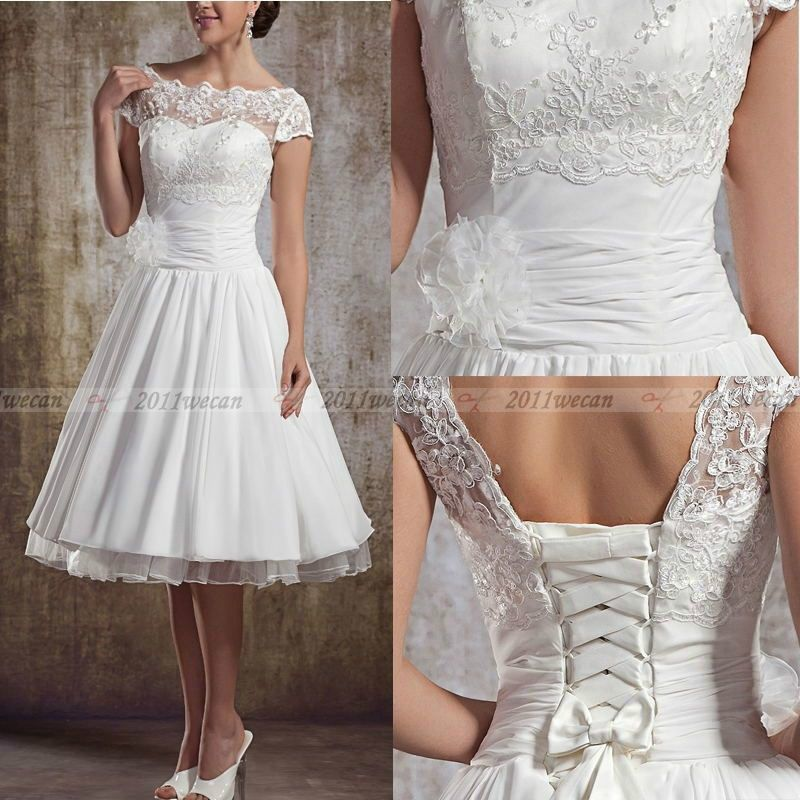 New White Ivory Vintage Lace Short Wedding Dresses Size 4