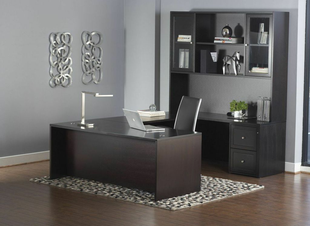 Premium Espresso U Shaped Executive Desk With Hutch U0026 Mobile File
