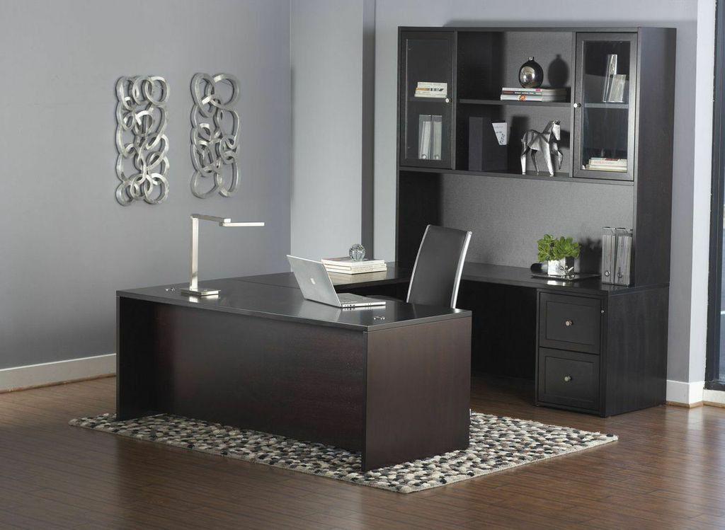 premium espresso u-shaped executive desk with hutch & mobile file