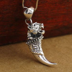 lion claw trophy necklace   Sterling-Silver-Biker-Lion-Tiger-Ferocious-Beast-Claw-Tooth-Men ...
