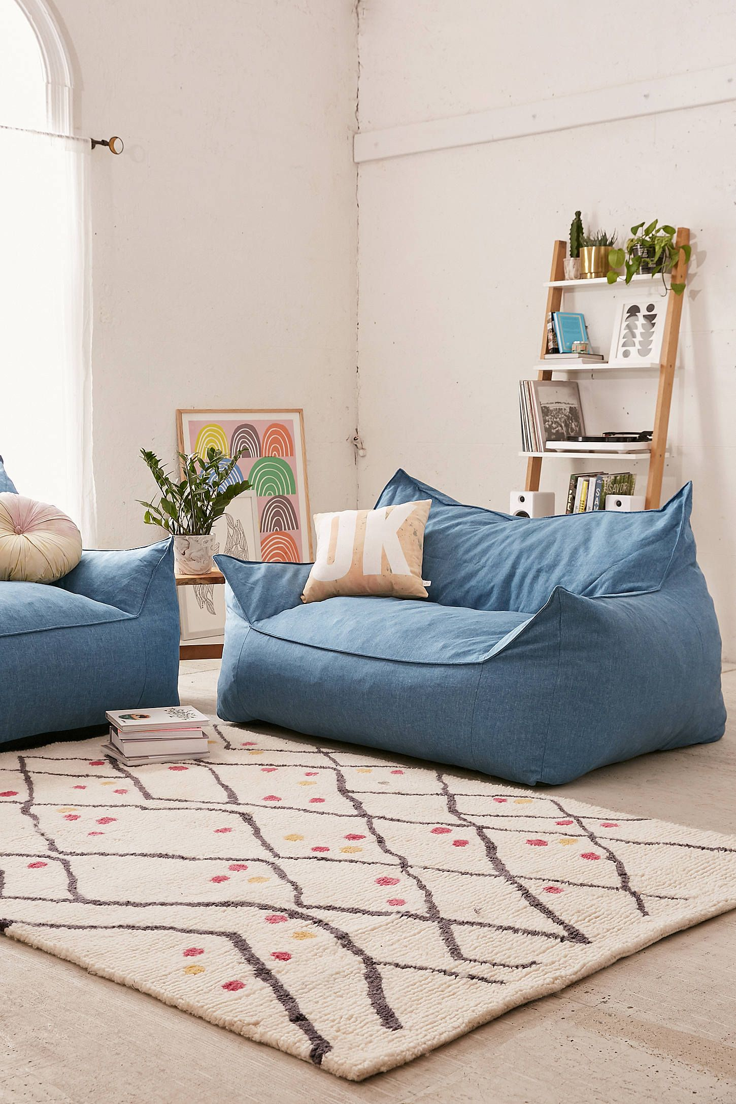 Larson soft loveseat dorm apartment home improvement - How to decorate living room with bean bags ...