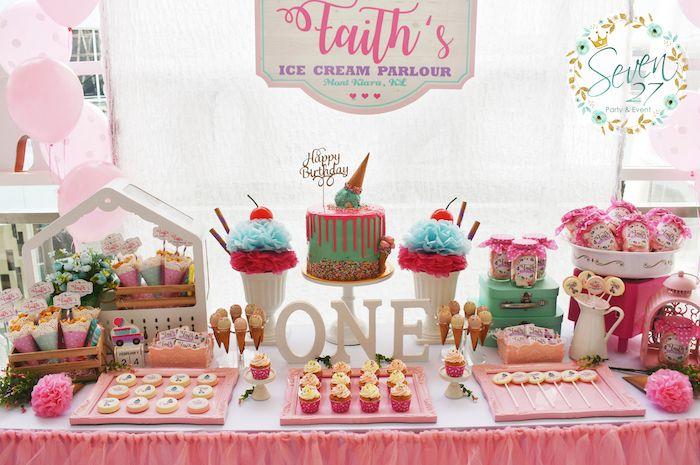 Girly Ice Cream Birthday Party Kara S Party Ideas Ice Cream Birthday Party Ice Cream Birthday Ice Cream Birthday Cake
