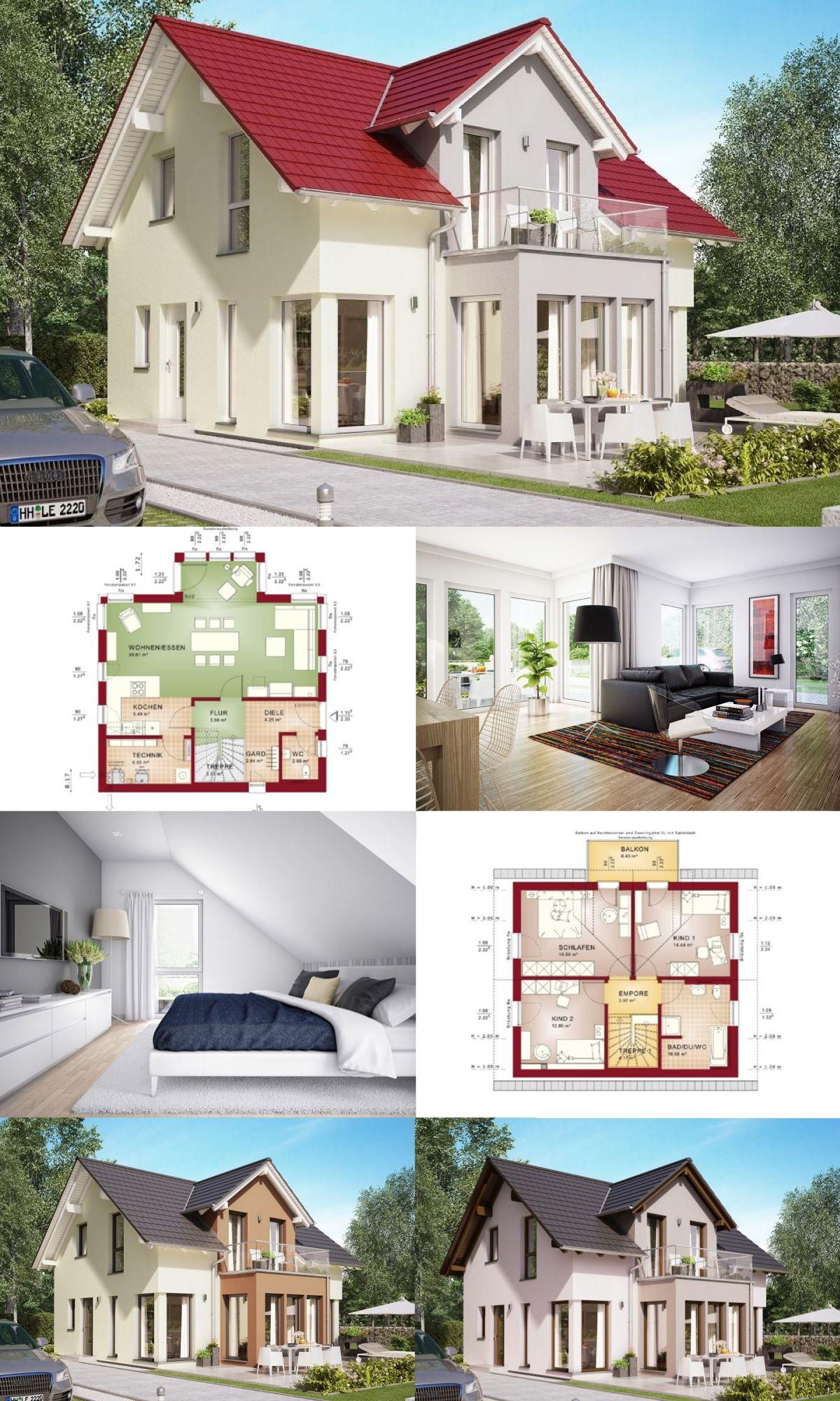 EINFAMILIENHAUS Satteldach Grundriss Offen Modern * Haus Edition 1 V7 Bien  Zenker * Fertighaus Bauen Offene