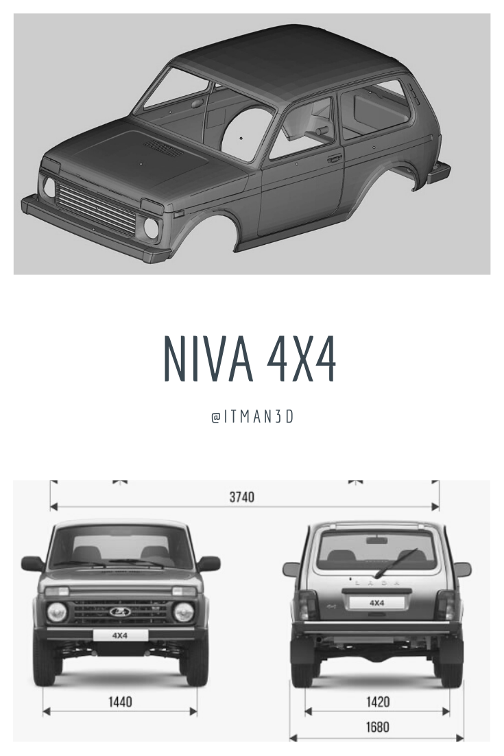 Printable Body Lada Niva 3d Print Russian Suvs Scale 110 3d Print Model