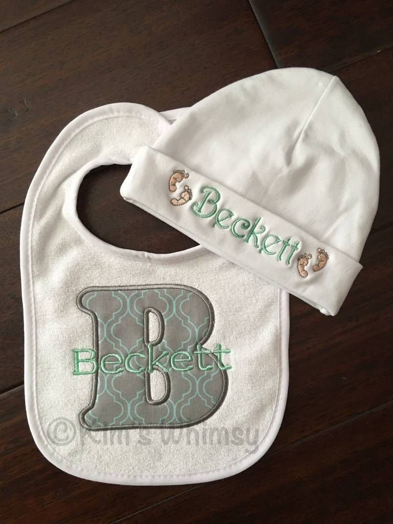 Custom Layette with Hat and bib.