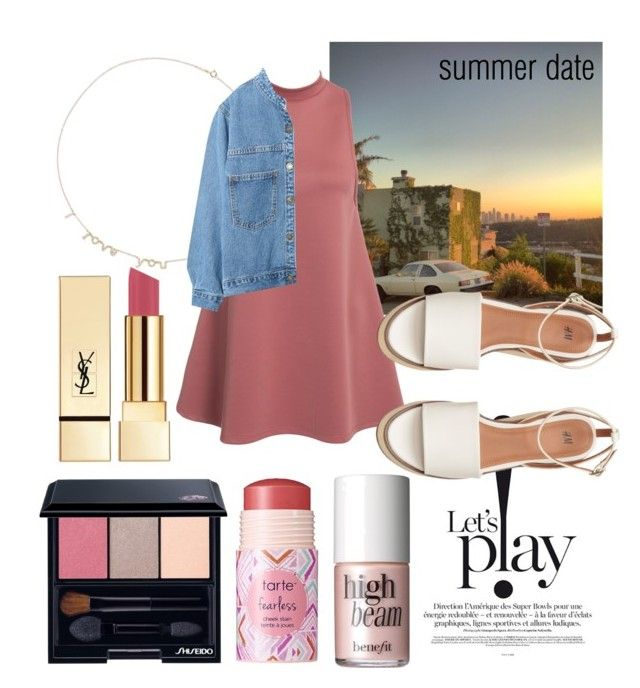 """""""rooftop date at sunset"""" by bbumble ❤ liked on Polyvore featuring Yves Saint Laurent, Jennifer Meyer Jewelry, WithChic, Shiseido, tarte, Benefit, summerdate and rooftopbar"""