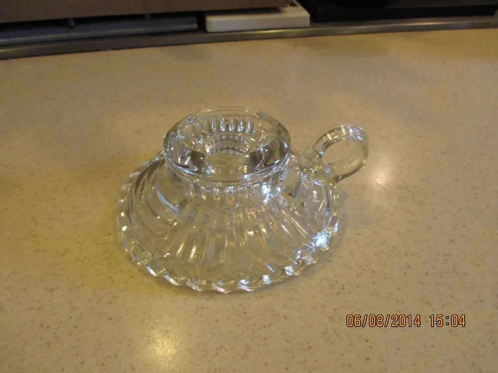 Details About Vintage 1960 S Clear Pressed Glass Candle Holder With Handle Glass Candle Holders Vintage Glass Candle Holders Candle Holders