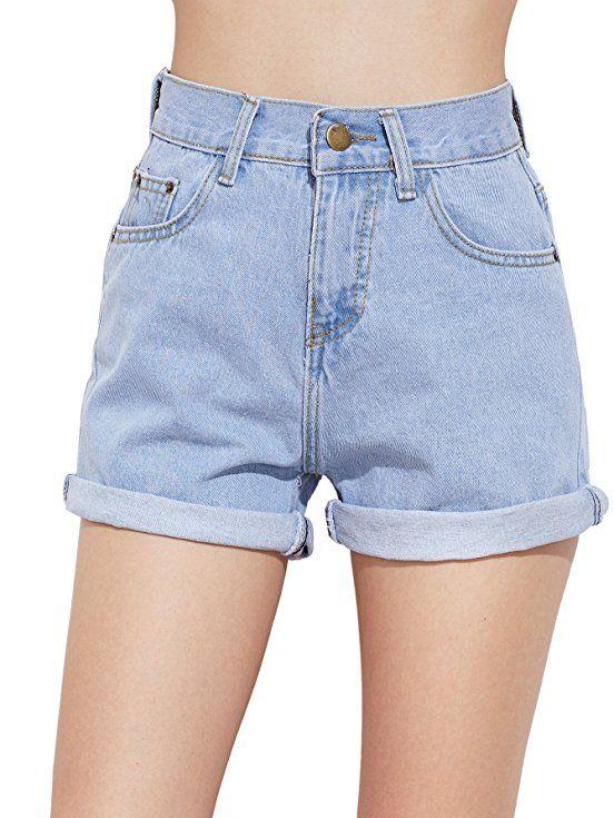high waisted light blue jean shorts