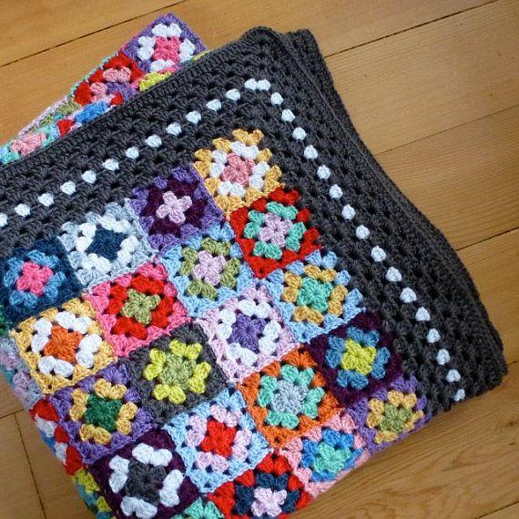 Crochet pattern Gypsy granny square blanket UK by MyRoseValley ...