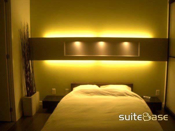 shelf & lighting above bed | Home Interiors Bedroom» | Pinterest ...