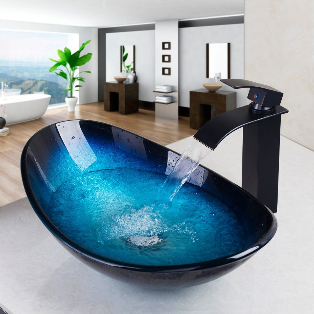 Whiteoak Tempered Glass Bathroom Sink, WaterFall Faucet