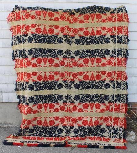 Antique 19thC Pennsylvania Folk Art Jacquard Wool Coverlet Blanket *NR