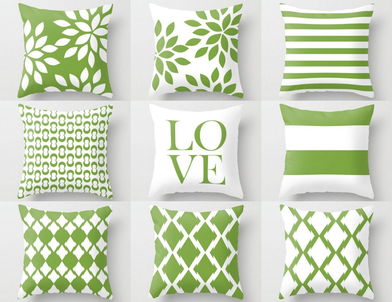 Green White Pillow Cover, Rosemary Green, Accent Pillows, Cushion