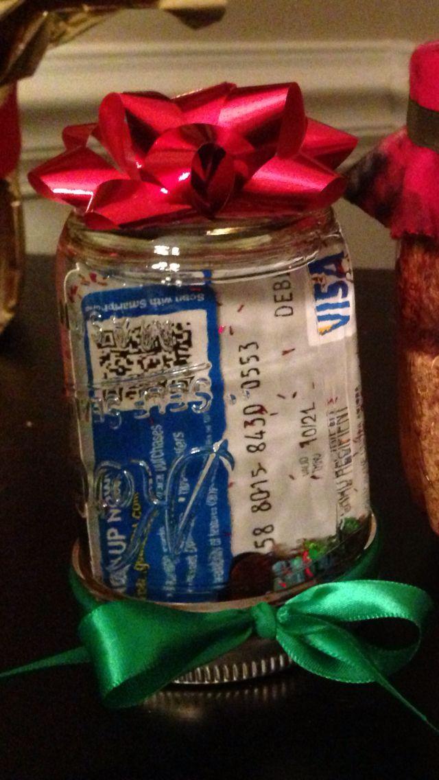 Gift card presentation. Snow globe with small mason jar