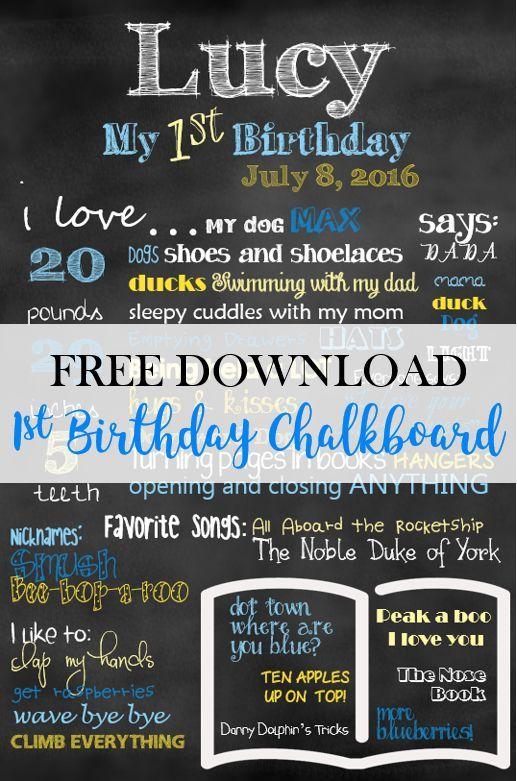 First Birthday Chalkboard Template Free Download Birthday Chalkboard Sign 1st Birthday Chalkboard Chalkboard Template