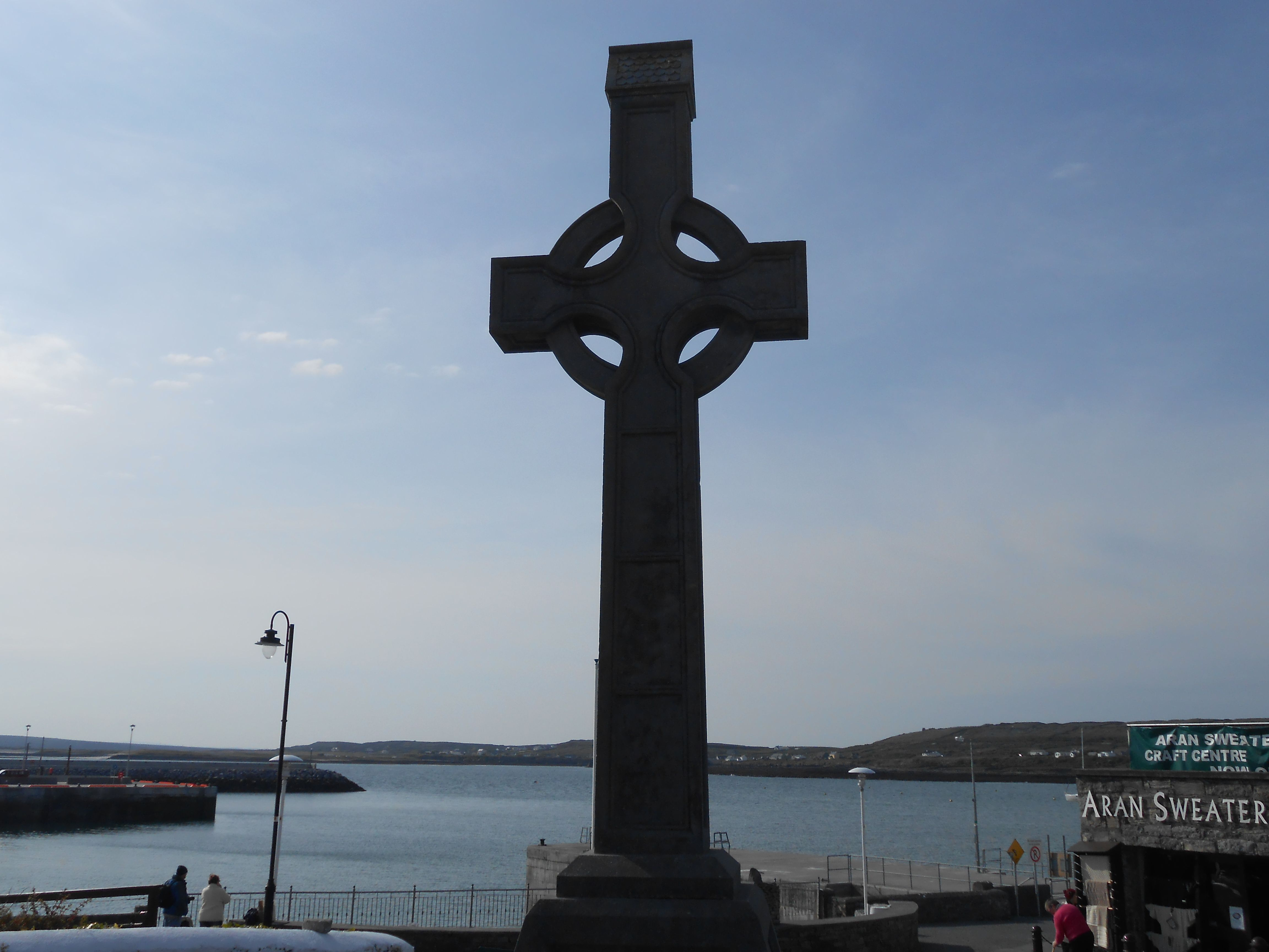Celtic Cross by the sea in Inishmore