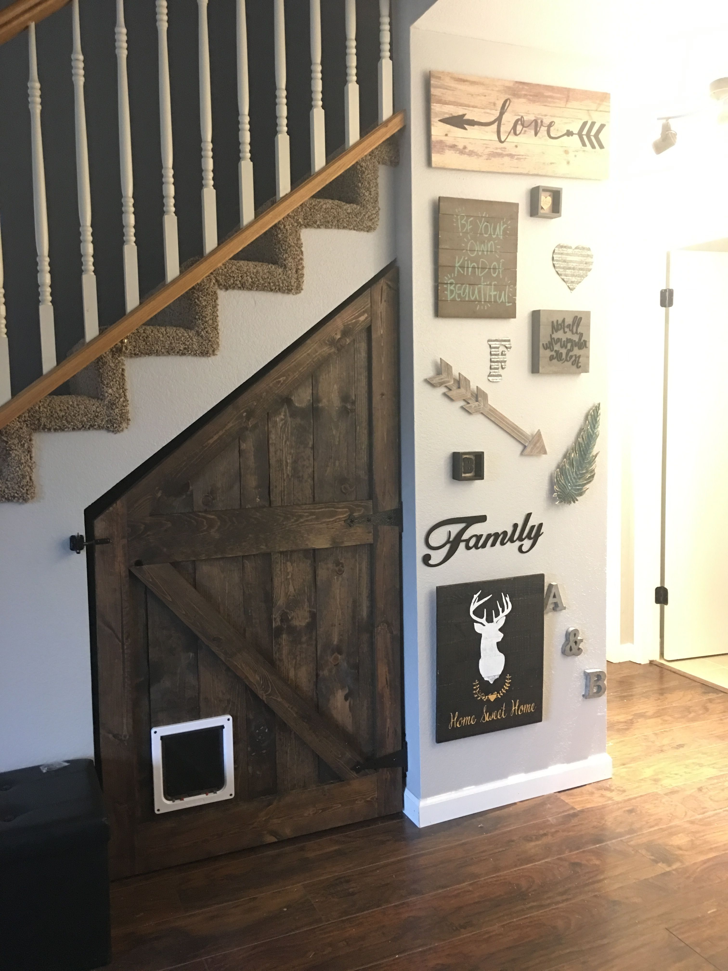 barn door to cover the awkward space under the stairs. Black Bedroom Furniture Sets. Home Design Ideas