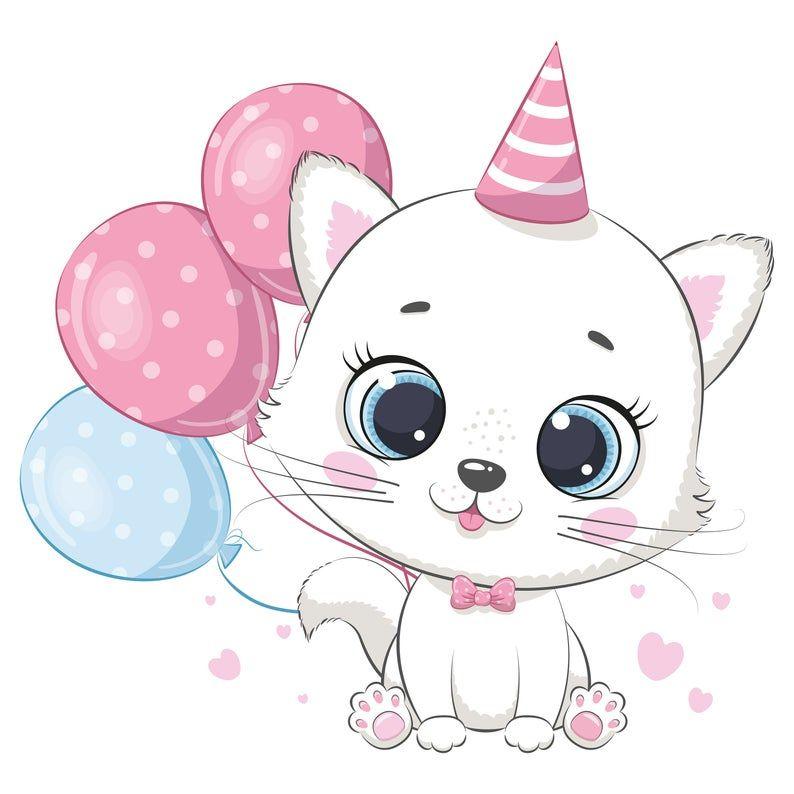 Cute Kitten Clipart Png Eps Jpeg Cat Clipart Moon Sleep Clipart Kitten Birthday Gatinho Desenho Estampas De Bebe Ilustracoes De Gato
