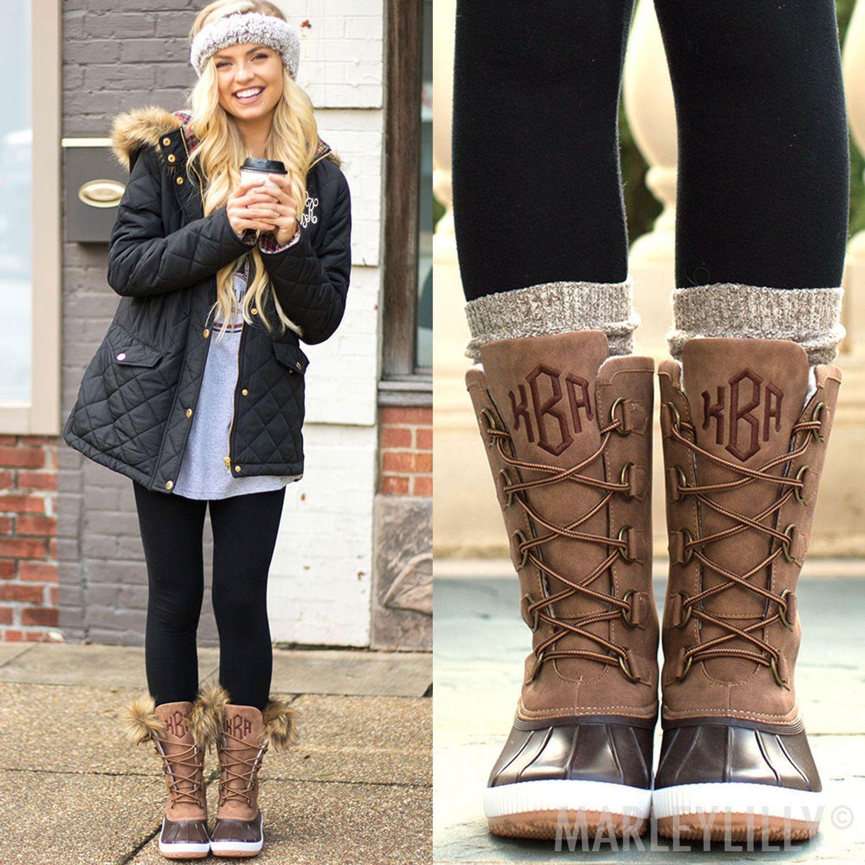 monogrammed tall WINTER duck boots