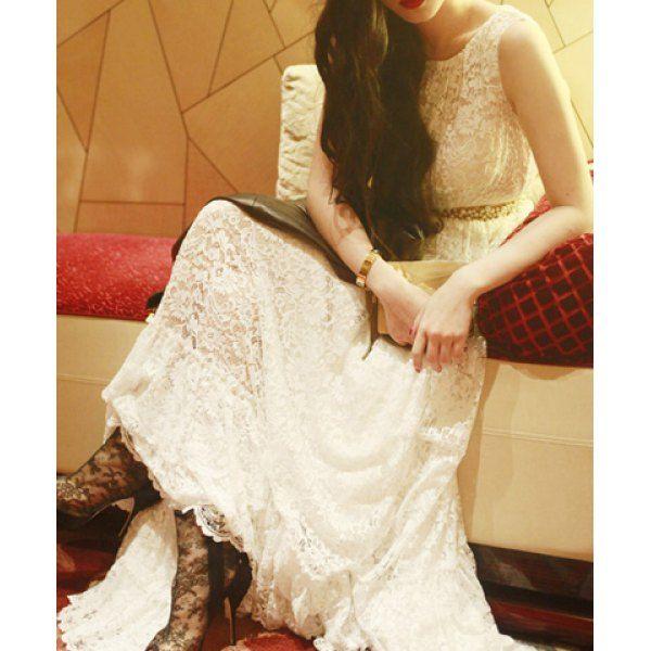 $32.43 Elegant Scoop Neck Sleeveless Beam Waist Long Lace Dress For Women