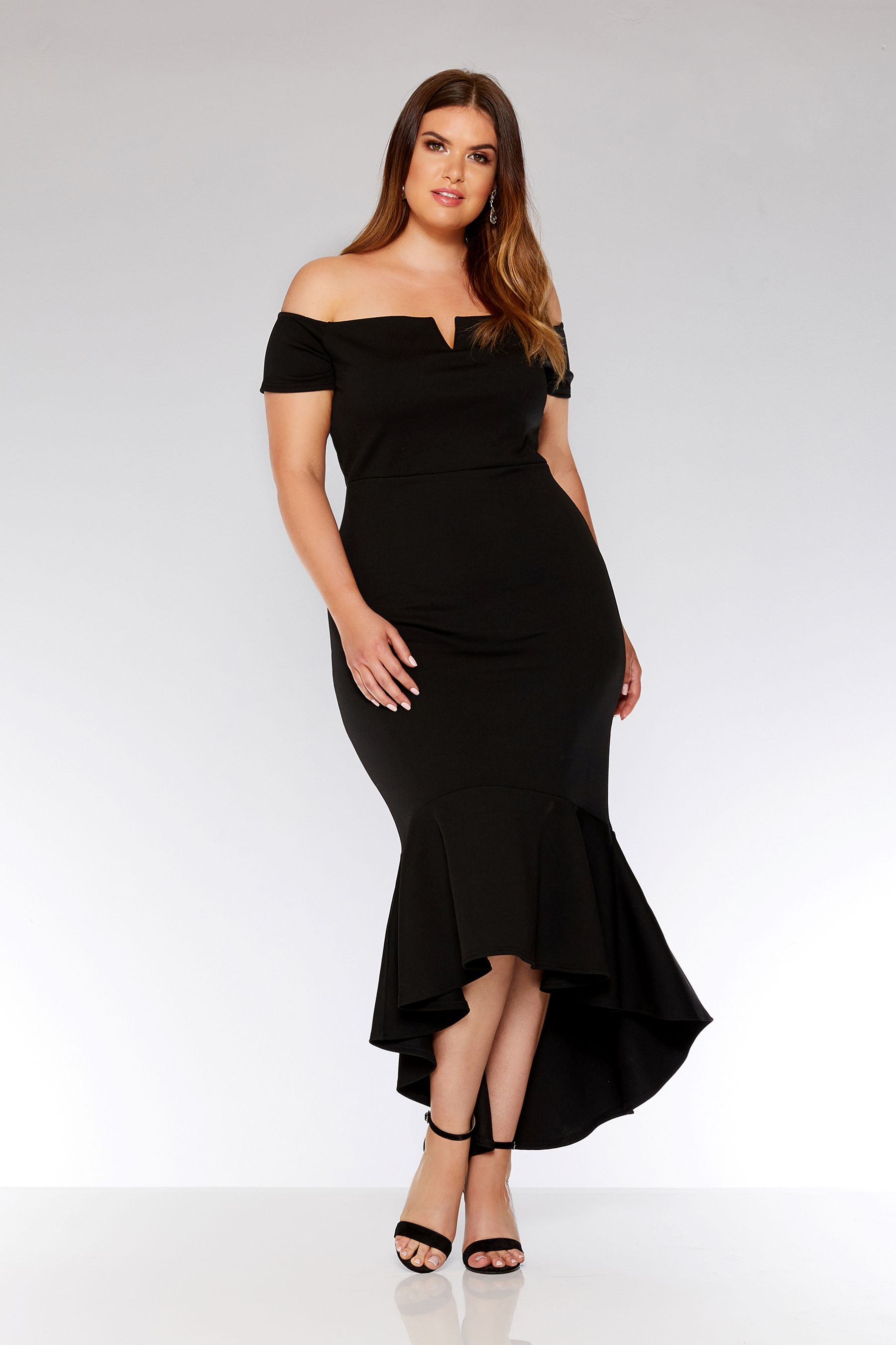 db493ba89a8 Womens Quiz Curve Bardot V Bar Fishtail Maxi Dress - Black ...