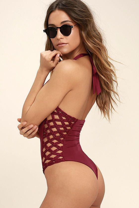 c3fcf5691cf Frankies Bikinis Camilla Wine Red One Piece Swimsuit | sexy ...