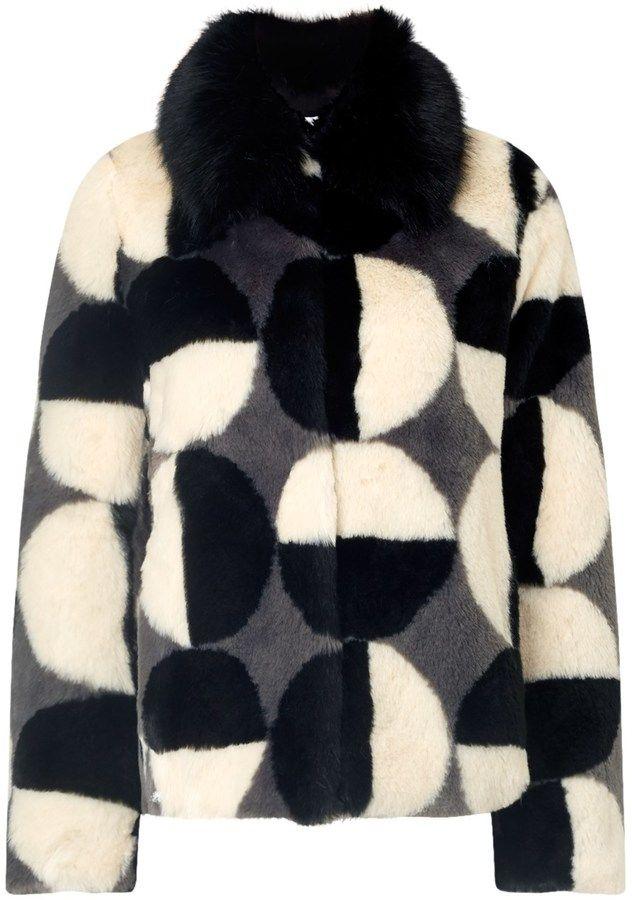 Ainea Black Faux Fur Circle Print Jacket