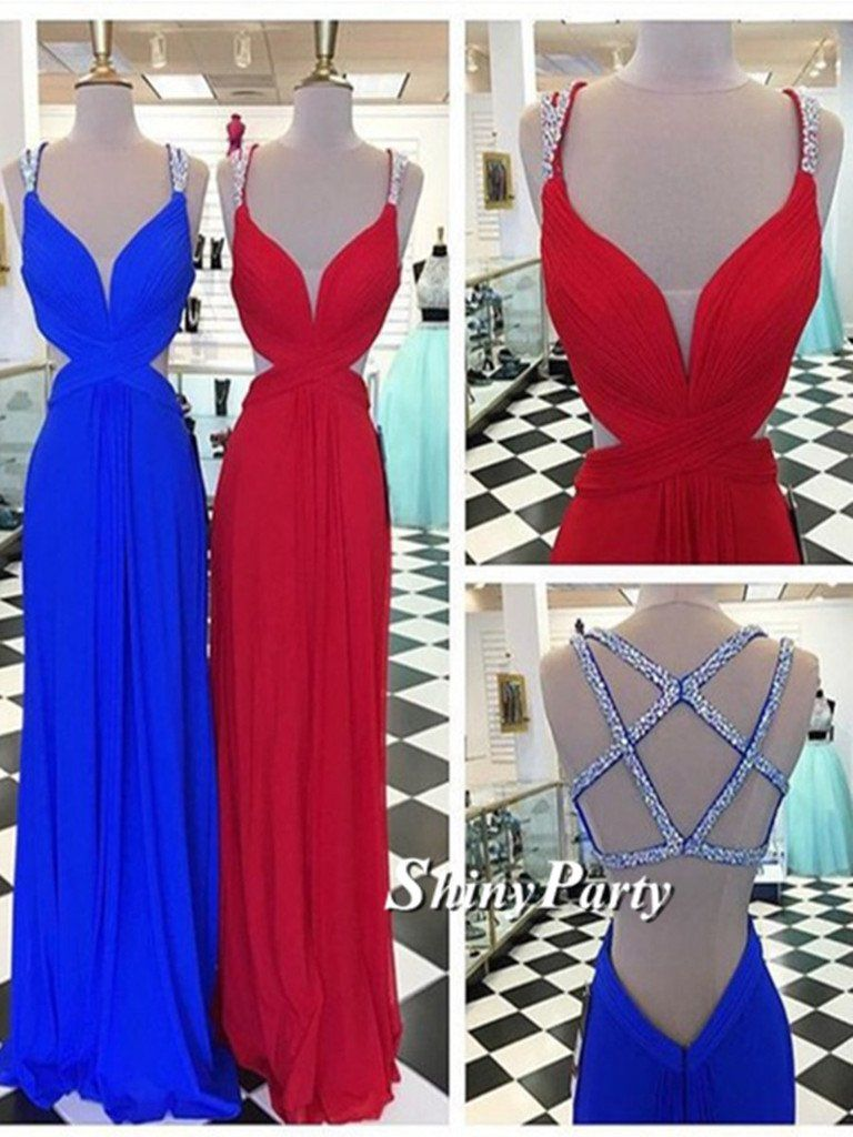 Sexy a line backless redblue prom dresses backless formal dresses