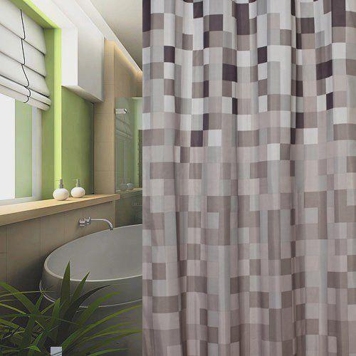 Textil Duschvorhang 240x200 Karo Grau Weiss Schwarz Braun 240 X