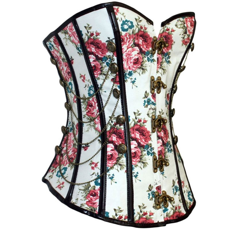 Hot New Vintage Steampunk Studded Corset Fashion Rose Pattern Print Long Torso Waist Training Corset Clip Gothic Waist Trainer alishoppbrasil